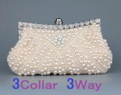 パーティーバッグ クラッチバッグ  大人上品 贅沢パール 3Wayチェーンショルダーバッグ ハンドバッグ[黒/ピンク/白]