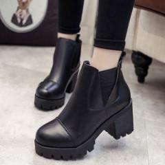 【予約】 靴 ブーティー ブーツ ショートブーツ サイドゴア 黒 ブラック 厚底 厚底ブーツ チャンキーヒール レディース