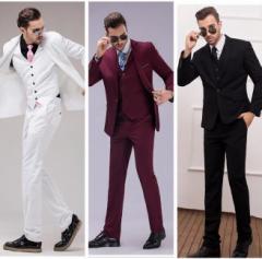 メンズ スリム・セットアップ 無地3点セット スリーピース ビジネススーツsuit大人気!男の子 フォーマル面接 結婚式全4色