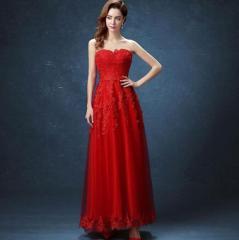 パーティードレス 結婚式 ウェディングドレス 花嫁 レース ベアトップ ロングドレス 着痩せ フォーマル ドレス 赤