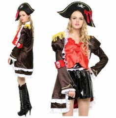 【即納】【送料無料】海賊 コスプレ フリルジャケット パイレーツ ハロウィン 4点セット 衣装 コスチューム レディース hw000122