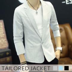 テーラードジャケット メンズ ジャケット アウター ショート丈 カラージャケット 無地 メンズファッション