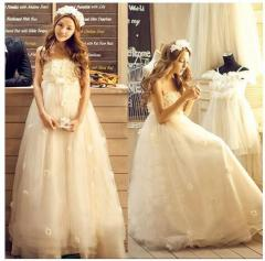 9476ba4fa1b4c 編み上げタイプ 豪華な ウェディングドレス☆ウエディングドレス刺繍 ☆格安結婚 妊婦