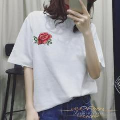 刺繍Tシャツ 半袖 カップルお揃い 柔らかな素材感 心地よい ペアTシャツ Uネット 可愛い トップス 半袖 インナー