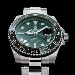 冒険家の時計 機械式自動巻き WANCHER「EXTREME」グリーン 24時間計GMT搭載
