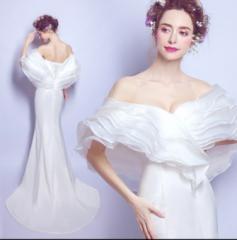 マーメイドドレス 結婚式 パーティードレス 花嫁 ブライダルドレス  二次会 演奏会  披露宴 ボレロ  ウェディングドレス  スレンダー