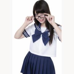 ■送料無料■カラーセーラー 色:紺×白 ネイビーリボン サイズ:L ■学生服・コスプレ・セーラー服・JK・女子高生【お取り寄せ】