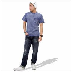 インディゴTシャツにポケットが付いた今季人気アイテムはボトムス選びが重要!!ストリート系 カジュアル