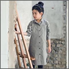 子供服 キッズ 子供 女の子 長袖 シャツ 長袖シャツ ロング シンプル ワンピースkd1102