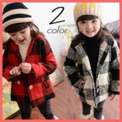 子供 子供服 キッズ コート ダッフルコート ジャケット チェック 女の子 アウター 超セール品 保温 暖かい kd328