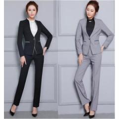 パンツスーツ  リクルートスーツ レディースフォーマル/事務服/長袖スーツ/OL制服/2点セット/細身シルエットで、美スタイル魅せ