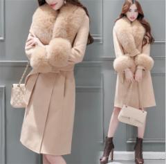 ダッフルコート 冬 レディースコート ミドル丈 アウター シンプル ファッション フェミニン 可愛い フォックスファー 高品質グレー
