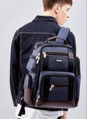 大容量 ビジネスリュック ビジネスバッグ メンズ 鞄 2重構造 男性 通勤 出張 リュックサック 革 キャンバス バッグ フォーマル