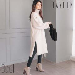 [HAYDEN]  冬新商品 ワンピース タートル ニットワンピース サイドスリットワンピース