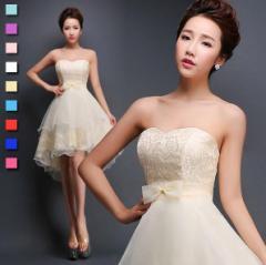 ミニドレス カラードレス 全10色 オフショルダー ウェディングドレス 不規則 結婚式 二次会お呼ばれ パーティドレス 20代 ベアトップ
