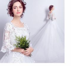ウェディングドレス 袖あり ブライダルドレス トレーンドレス ウエディングドレス Aラインドレス 大きいサイズ 結婚式 披露宴