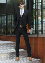 格好いい★/セットアップ 4点セットスーツ/卒業式/成人式/ ビジネススーツ/ダブル/スリム/細身/紳士服/ブラック