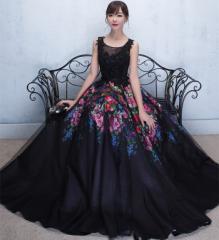 花柄 ロングドレス 演奏会  結婚式 ドレス ウェディングドレス  お呼ばれ ピアノ 発表会 フォーマル ドレス 二次会ドレス
