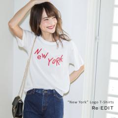 NewYORK刺繍ロゴTシャツ レディース トップス カットソー 刺しゅう ボックスシルエット オーバーサイズ コットン 綿100% [入荷済]