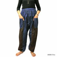 アラジンパンツ 青紫&薄茶系 メンズ レディース おしゃれな ワイド ウエストゴム サルエル ヨガ エスニック  アジアンファッション