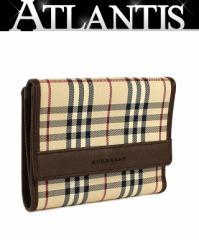 美品 バーバリー Wホック 二つ折り 財布 タータンチェック ブラウン