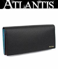 未使用品 ポールスミス ファスナー付き 二つ折り 長財布 レザー 黒 グリーン系