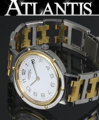 エルメス クリッパー メンズ 腕時計 クォーツ SS ホワイト文字版