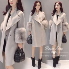 ダッフルコート 冬  レディースコート ミドル丈  アウター シンプル 韓国ファッション フェミニン  フェイクファー パーティー グレー
