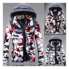 メンズ ダウンジャケット ミリタリー 迷彩柄 防寒 ダウン コート 超軽量 綿入ブルゾン中綿 ジャンパー  大きいサイズ フード付けアウター