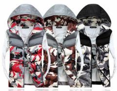 男女兼用 迷彩柄 ダウンベスト ペアルック カジュアル ジャケット フード付き 中綿 ベスト 軽くて暖ったかい 大人 男性女性用 3色