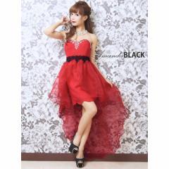 【amanda black】MIXツイードフリルテール中ミニロングドレス キャバ ドレス キャバクラ ロング ロングドレス 中ミニ ベアトップ 赤