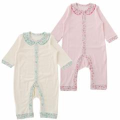 ベビー服 赤ちゃん 服 ベビー カバーオール 女の子 70 80 フリル襟長袖前開カバーオール