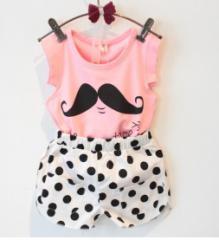 子供服キッズノースリーブTシャツとショートパンツ2点上下セットアップ女の子ドット柄かわいいひげプリント普段着 入学式 短パン水玉柄