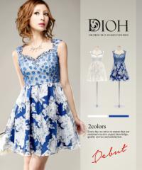 DIOH【ディオ】オーガンジーフレアスカート ワンピースドレス Lサイズ 大きいサイズ 送料無料