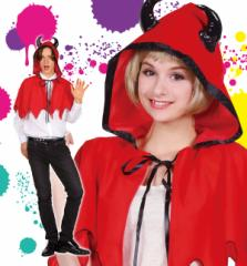 ハロウィン 衣装 女 男 大人 悪魔 仮装 コスチューム メンズ レディース デビルマント デビルフードケープ