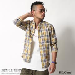 【RD.Ghost】日本製/国産先染めブロードマドラスチェック柄7分袖ボタンダウンシャツ/メンズ◆4445【pre_d】