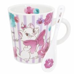 ◆おしゃれキャット マリー スプーン付 マグカップ/フラワー(ディズニー)プレゼント、お土産,キャラクターグッツ通販、