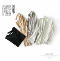 ファッション Tシャツ 薄い 無地 Uネック 韓国風 無地 新作品  秋 C-4