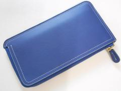 Syoku長財布 ロングウォレット 薄い スマホ財布【 藍色(うすいブルー)】