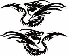 カッティングステッカー 車 バイク オシャレ カッコイイ カスタム【ドラゴン 龍 トライバル 2・24(左右1セット) サイズL】【メール便】