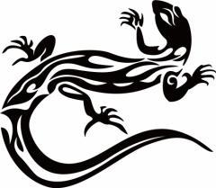 カッティングステッカー 車 バイク オシャレ カッコイイ カスタム 【トカゲ(蜥蜴) トライバル ・10(左向き) サイズL】【メール便】