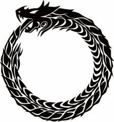 カッティングステッカー 車 バイク オシャレ カスタム 【ウロボロス ドラゴン 龍 トライバル ・4・10(左向き) サイズL】【メール便】