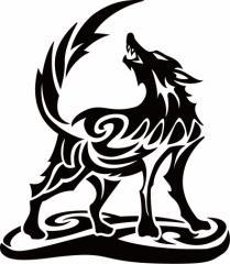 カッティングステッカー 車 バイク カッコイイ 目立つ【オオカミ(狼) ウルフ(wolf) トライバル ・2(左向き) サイズL】【メール便】