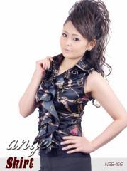 ST1302-024/チェーン柄フリルサテンシャツ