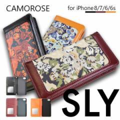 iPhone8 ケース 手帳型 iPhone7 iPhone6s iPhone6 兼用 ブランド SLY スライ CAMO ROSE 手帳型 スマホケース 花柄 内側ミラー