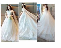 オフショルダーロングドレス お呼ばれドレス トレーンドレス花嫁ドレス ウェディングドレス 二次会  大きいサイズ 披露宴 司会者
