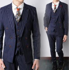 メンズファッション 3点セット メンズスーツ  ビジネス セットアップ フォーマルスーツ リクルートスーツ  ストライプ柄 ネイビー