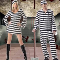 即納 ハロウィン コスプレ衣装  囚人服 プリズナー 囚人 囚人服 プリズン 仮装 衣装 大きいサイズ コスチューム 大人用 男性 女性