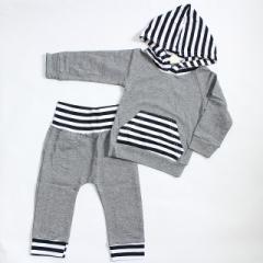 ベビー キッズ セットアップ パーカー グレー ボーダー柄 赤ちゃん パジャマ
