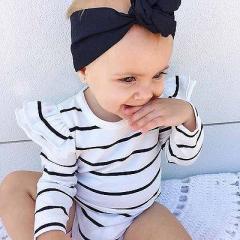 ベビー ロンパース ホワイト ボーダー柄 女の子 パジャマ カバーオール 子供服